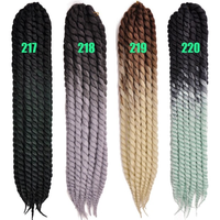 24'' synthetic hair crochet braids ombre two tone havana mambo twist style