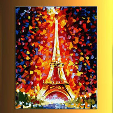 Red night Eiffel Tower knife painting classic buildings 100% handmade decoration oil painting in canvas