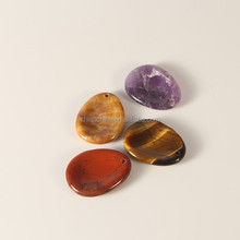Wholesale semi-precious stone worry stone/healing crystals/Thumb massage oval shape