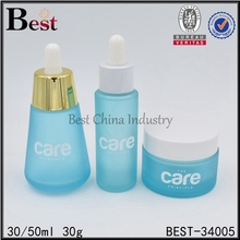 whole set blue frosted packaging bottle 30ml glass liquid packaging bottle for cosmetic