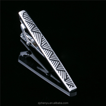 Factory wholesale mens high quality silver color nickle free brass stripe tie bar