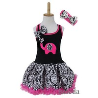 Elephant Heart Black Hot Pink Damask Pettiskirt Party Dress 1-4Y