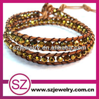 SZ jewelry new design gold plating crystal leather wrap shamballa style cheap stock bracelet