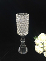 High foot transparent diamond crystal flower vase/home decoration clear flower glass vase