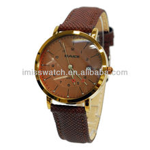 Original quartz movement high strength mineral glass coffee color leather strap watch for men BD72038
