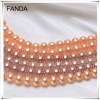 7-8mm AAA top quality near round real pearl strands price wholesale