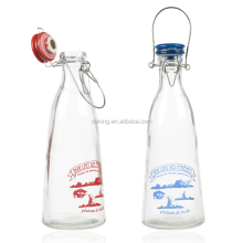 Glass Milk Bottles With Ceramic Lid Air Tight Stopper Clamp Storage Container