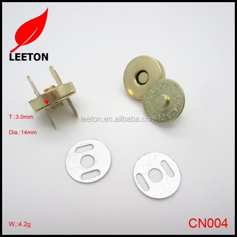 Factory supply 14mm gold magnetic snap button for handbag