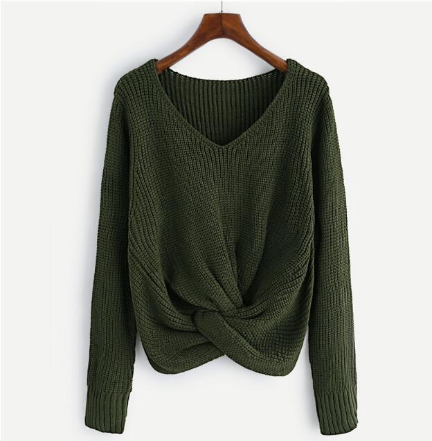 Twist Front Chunky Sweater Women V Neck Green Long Sleeve Basic Pullovers Fall 2019 Fashion Casual Loose Cute Sweater