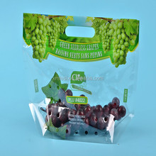 High quality Custom printed grape packaging plastic PP ziplock bag with hole punch