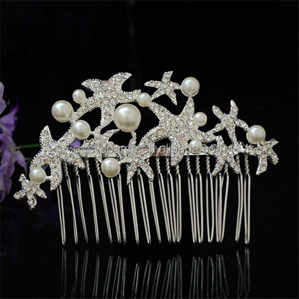 New Fancy faux pearl ornament korea hot selling hair accessory rhinestone handcraft crystal star Jewelry bridal hair comb