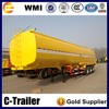 3 axle 42cbm mirror stainless steel chemical liquid tanker semi trailer, 31 ton big volume chemical liquid tank semi trailer