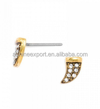 Antique Gold Tone Pave Rhinestone Mini Horn Ear Stud Earring