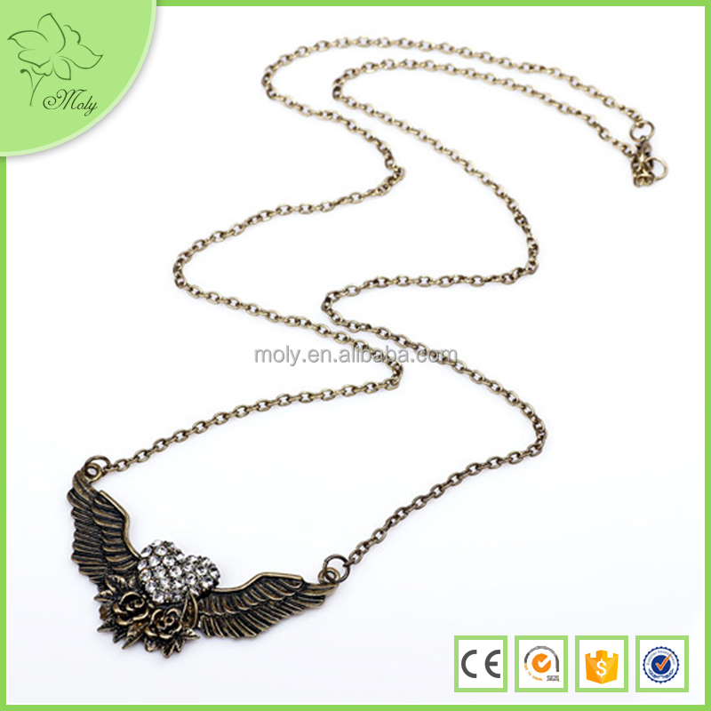 2015 Paragraph-blasting Fashion Alloy Wings China Imitation Necklace Jewelry