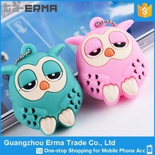 Alibaba China Universal Smart Phone 3D Cute Owl Earphone Jack Anti Dust Plug With Chain