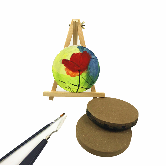 High Quality wholesale wood <strong>crafts</strong> round MDF kids creative canvas painting board set