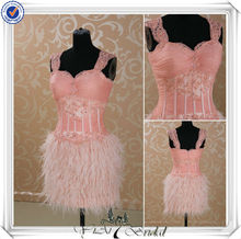 RSE127 Cap Sleeve Beaded Lace Pink Feather Evening Dress 2013