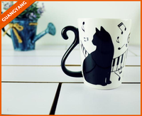 Japanese fashion style white print cute cat ceramic coffee mug with handle for drinking