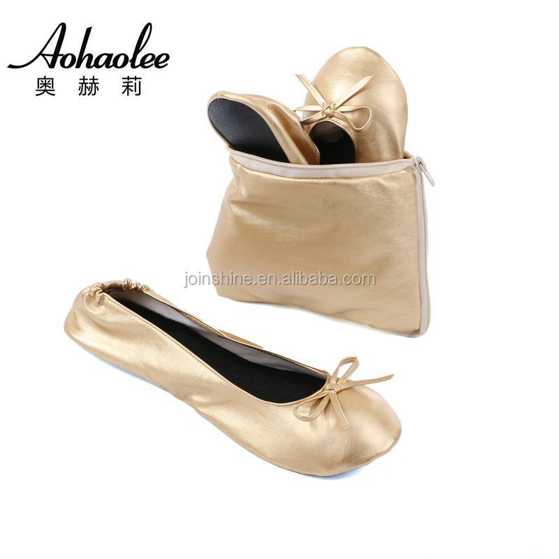 Popular cheap foot relax fold up flats disposable ballerina shoes