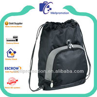 Wellpromotion drawstring mesh bag with front zipper pocket