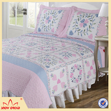 Fine cotton brief printed washable patchwork soft bed spred quilt 3pcs bed sheet
