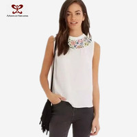 2016 Sweet Wear Women Sleeveless White Tee Shirt,Cotton Tee Shirt