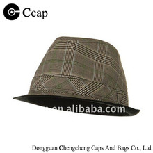 2015 Manufacture Brown Plaid Fedora Hat