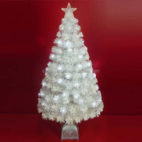 120cm White Leaf Fiber Optic Christmas Trees with White LED Lights