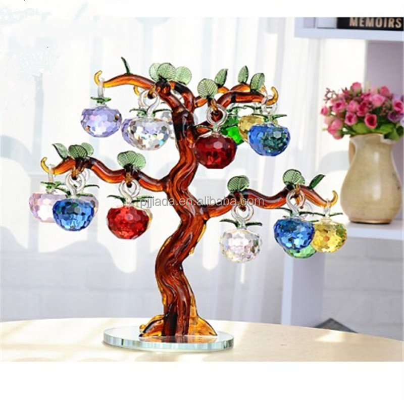 Colorful christmas ornament and decoration 3d laser block cheap apple tree crystal wedding gifts crystal apple tree