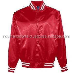 red bomber jacket with OEM size chart