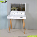 White MDF makeup table with rubber wood stand