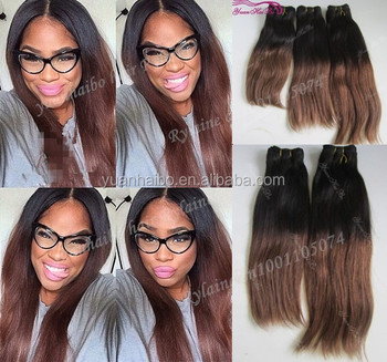Top 6a grade quality 1bT4# virgin brazilian ombre color two toned hair weaving