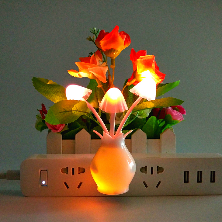 led light sensor color changing dual side plug-in lighting night light