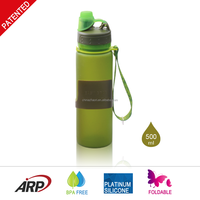 2015 New 500ml/16oz Silicone Water Bottle Collapsible Sports Drinking Water Bottle