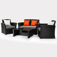 RATTAN GARDEN FURNITURE SET 4 PCS