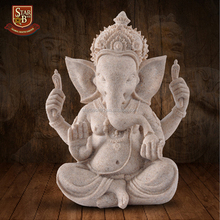 Handcarved figurine nature sandstone resin elephant head hindu god statues