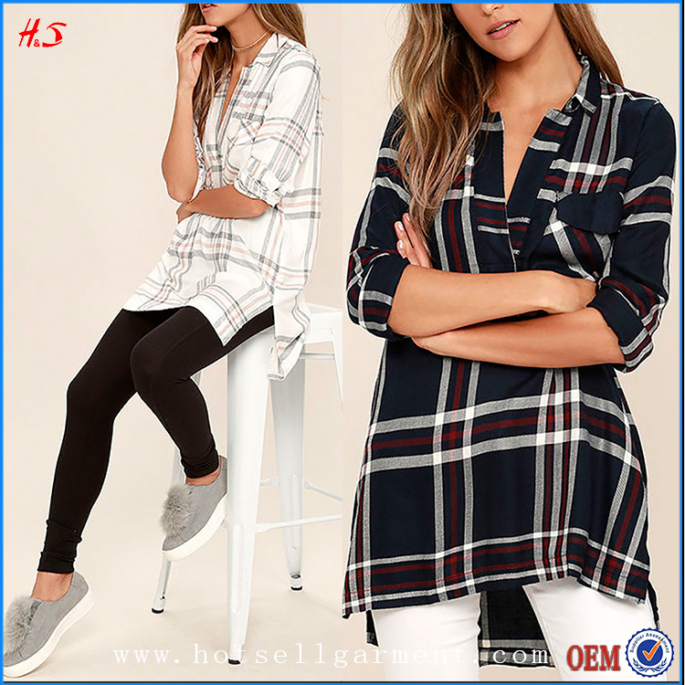 Latest Stylish V-Neck Ivory Plaid Tunic Top New Model Shirts Long Sleeve Tops Women's Tops