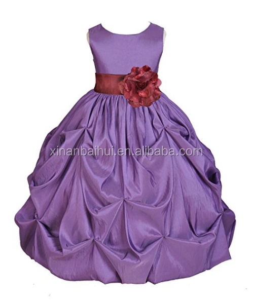Kids girl dresses for Bridesmaid Princess Birthday party dress with colored belt summer flower girl dress for 10 years
