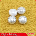ball pearl skirts button with digital printing pattern