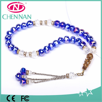 pujiang new arrival tespih blue crystal islamic tesbih with rondelle beads 33
