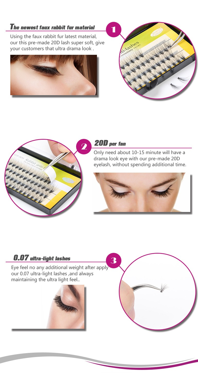 20D ultra light silk volume fans eyelash stars colors