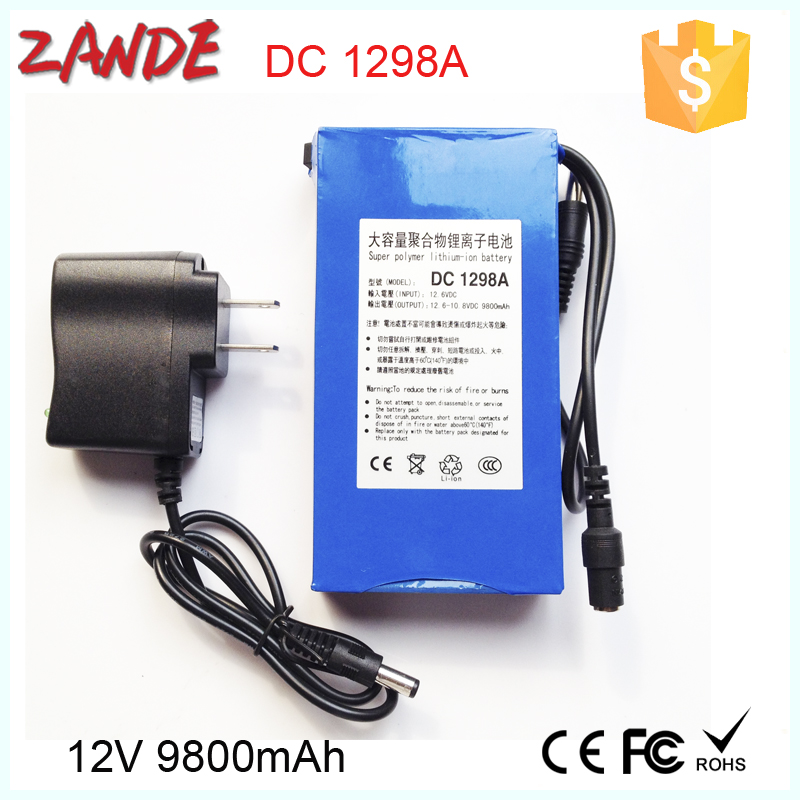 Super Portable DC 12v 10ah li-ion battery pack with AC Charger for security cctv camera