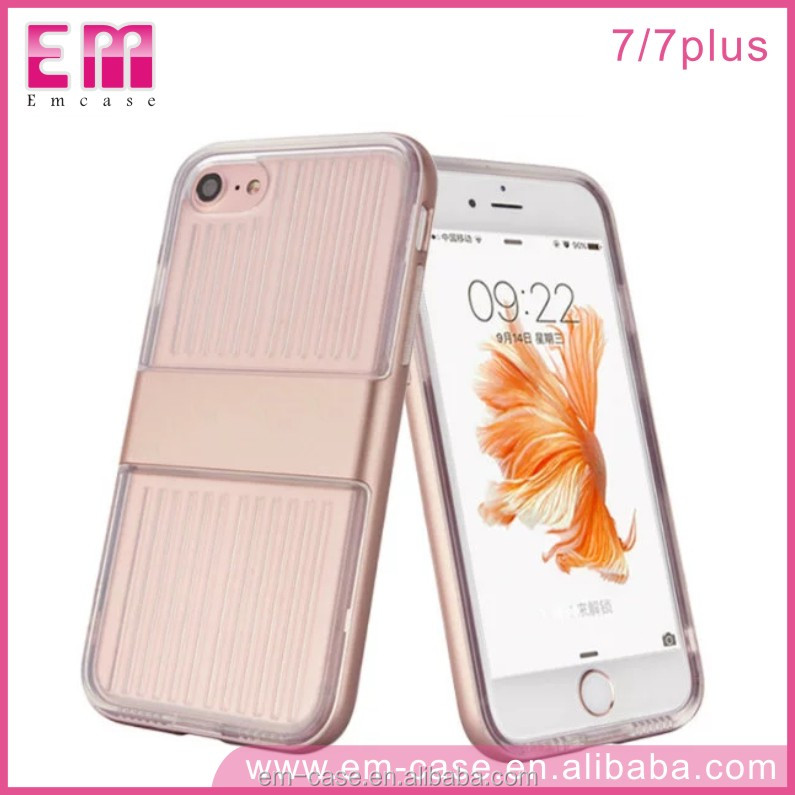 Alibaba New Lauch Shield Series Electroplating Cystal Clear PC TPU Face Cover for iPhone 7 7Plus