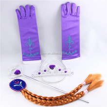 More stock wholesale kids Frozen crown sets wig+gloves+magic wand