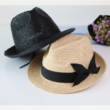 Hand knit raffia straw new brand fedora hats