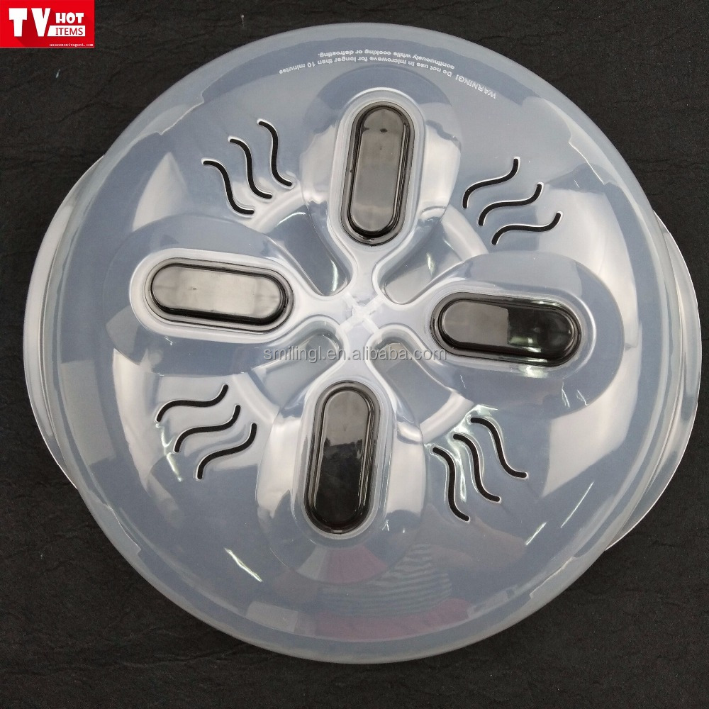 As seen on TV magnetic mircowave hover splatter guard and safe cover tool with steam vents