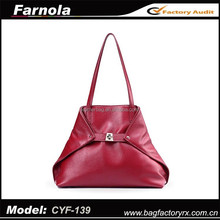 guangzhou wholesale 2015 hot selling handbag genuine leather new design red bag for women