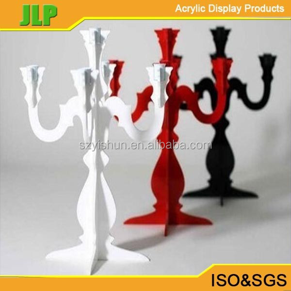 JLP red color acrylic wedding candle holder