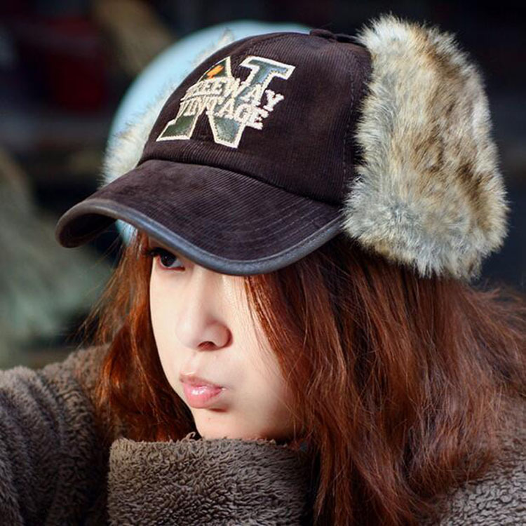 Winter Rabbit Fur Baseball Cap for Men Letters N Ear Flap Hat Fashion Russian Fur Trapper Hats Women Earmuffs Winter Hats