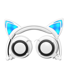 In stock ! most popular Foldable Flashing Glowing Cat Ear Headsets with LED light